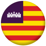 Balearic Islands Flag 58mm Button Badge.